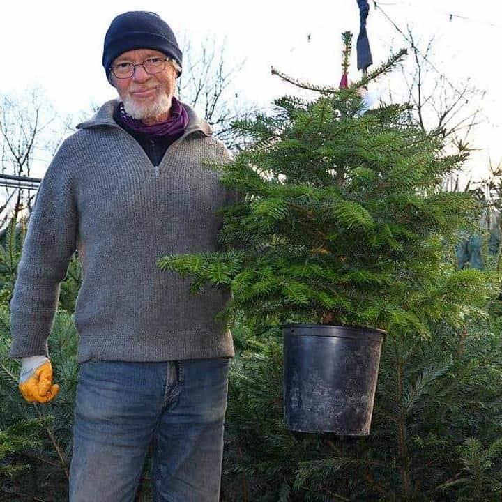 Jürgen Rühlemann mit Weihnachtsbaum im Topf